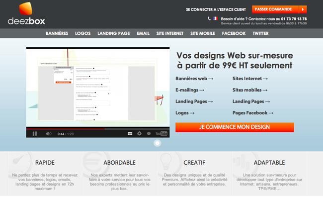 Photo de Deezbox, site de création de bannières, newsletters et design de sites