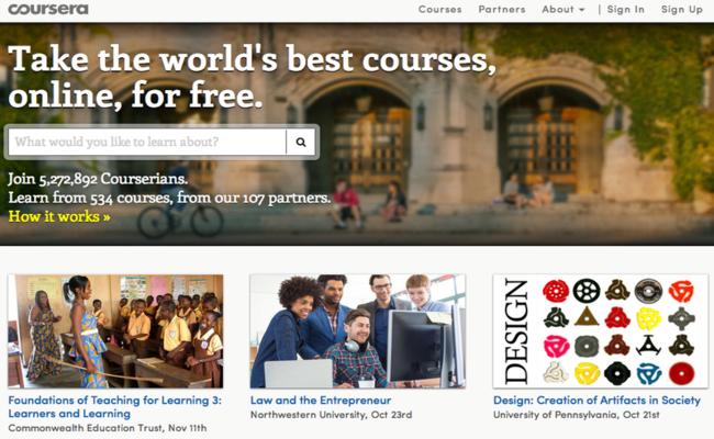 Photo de [Cours en ligne] Coursera collabore avec plus de 100 écoles partenaires et compte 5 millions d'étudiants