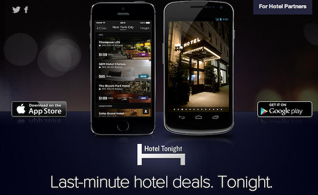 Bon app hotel tonight r server une chambre la for Reserver un hotel derniere minute