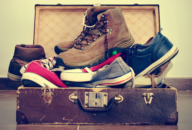 shoes in an old suitcase