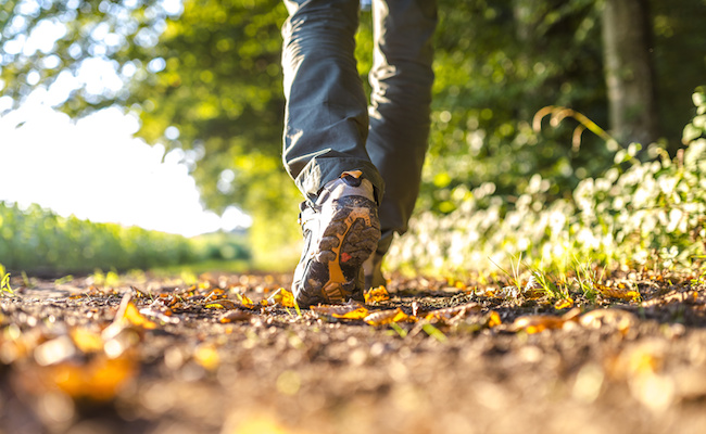 Detail of man hiking