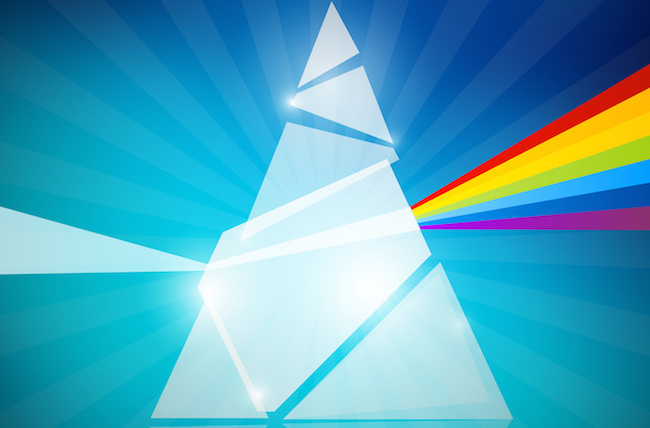 Prism Spectrum Illustration on Blue Background