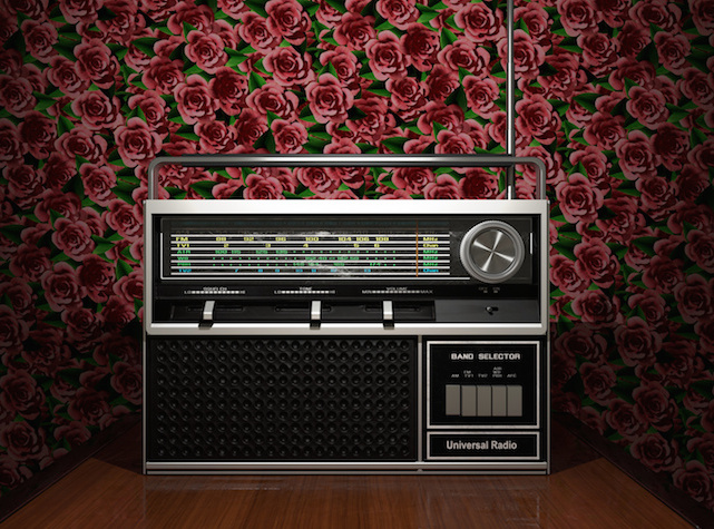 rosy wallpaper and vintage transistor 3d illustrated