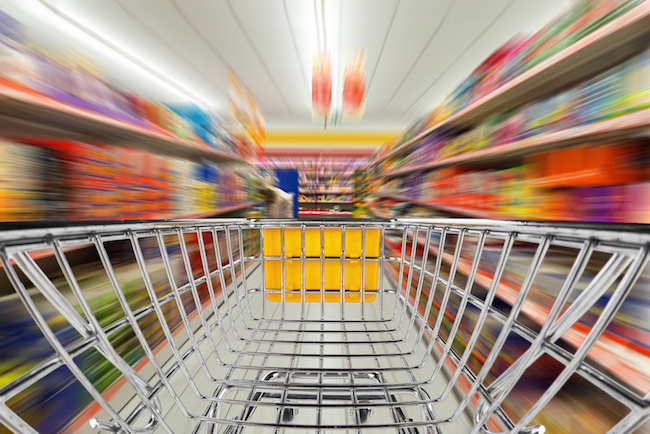 shop cart in supermarket