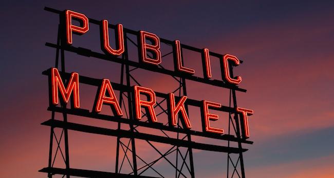 Pike Place Market neon sign at sunset, Seattle, Washington