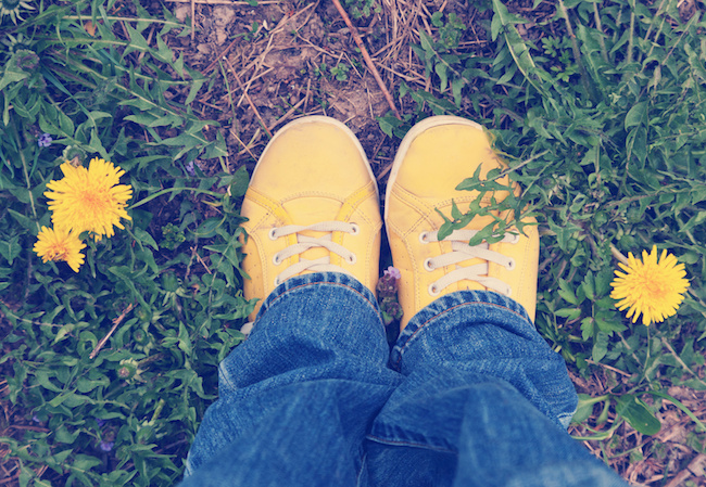 yellow sneakers on green grass, spring, walk