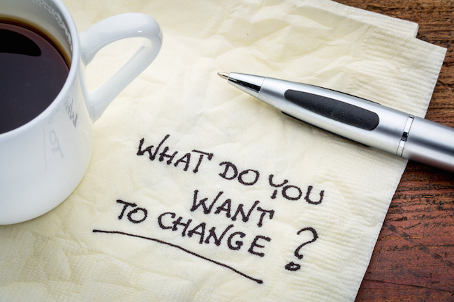 What do you want to change? Handwriting on a napkin with cup of espresso coffee