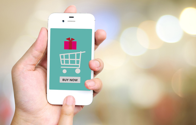 Buy now on smart phone screen, e-business concept