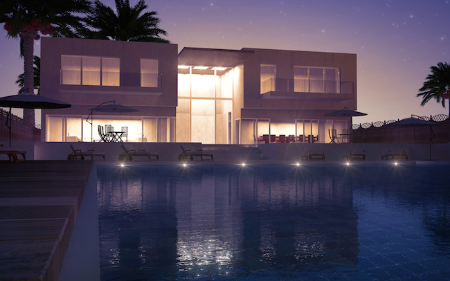 Modern villa with water pool night view