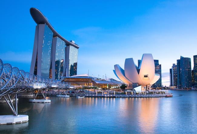 Marina Bay area at night, Singapore.