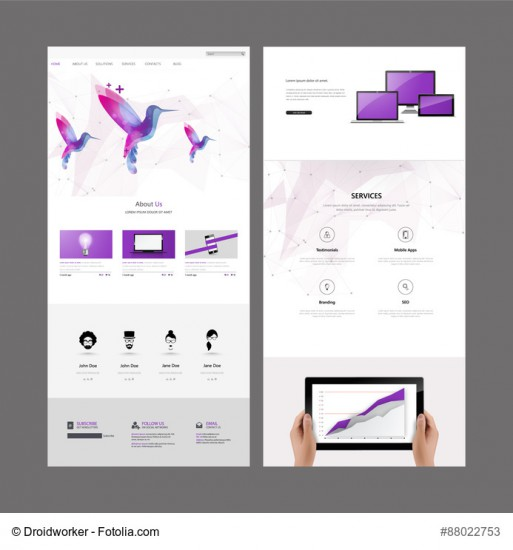 One page website design template. Vector Design