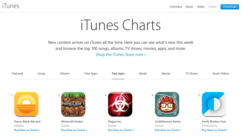 L'App Store USA d'Apple, le 18 septembre 2015