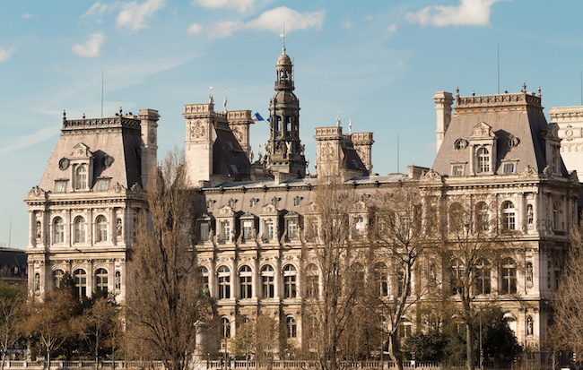 The town hall (Hotel de ville) of Paris, is the building housing the city's local administration. Standing on the place de l'Hotel de ville in the 4th arrondissement, it has been the headquarters of the municipality of Paris since 1357.
