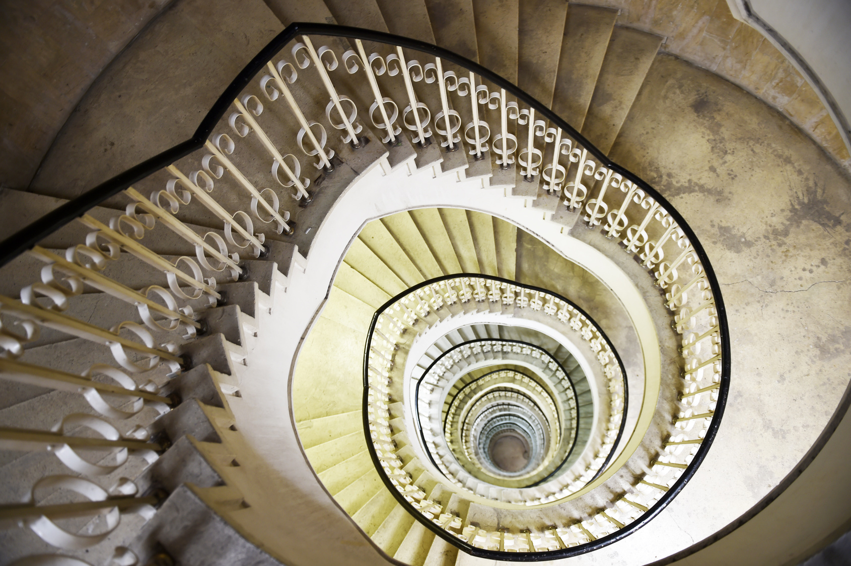 Spiral staircase in the interior of a tall building