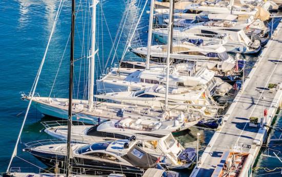 Anblick Hafen Yachten Boote Schiffe