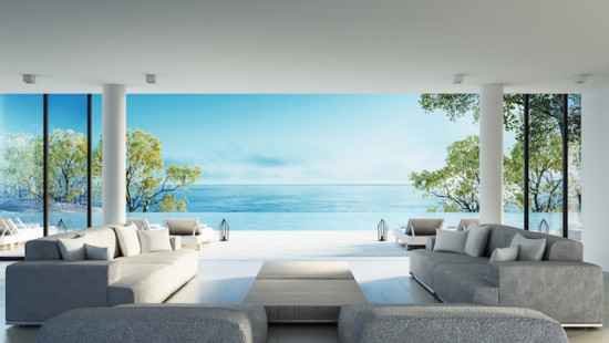 Beach living on Sea view / 3d rendering