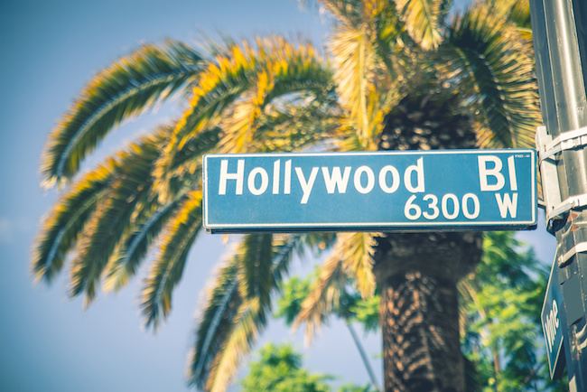 Hollywood boulevard street sign