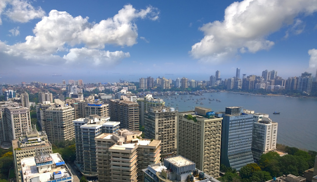 Aerial view of Mumbai India skyline with sea view