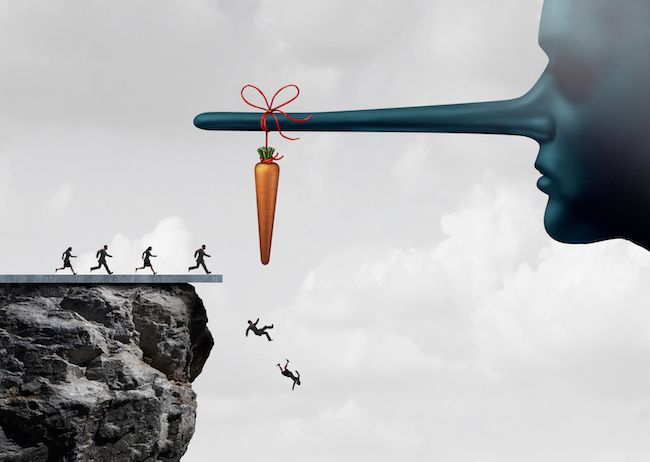 Incentive trap and corrupt leader business concept as a group of people running towards a carrot tied to a liar nose only to have been tricked and fooled into fall off a cliff as a metaphor for entrapment or bait trapping in a risky economy.