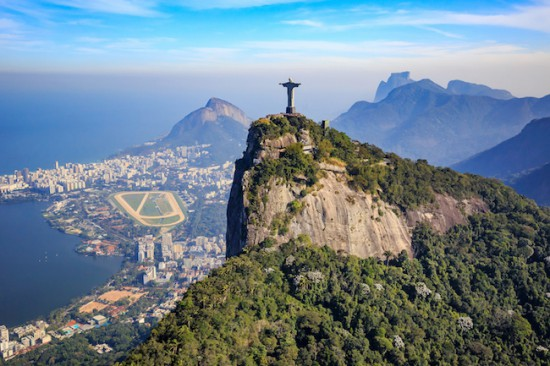 Aerial view of Christ the Redeemer and Rio de Janeiro city, Brazil