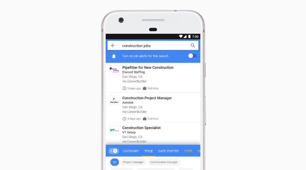 Outil d'affichage d'offres d'emploi par Google